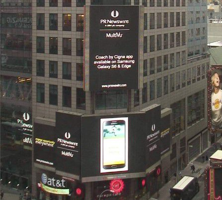 Time Square PR Newswire Announcing the Launch of the Coach By Cigna App